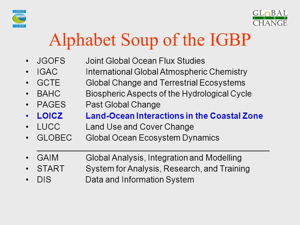 Alphabet Soup of the IGBP JGOFSJoint Global Ocean Flux Studies IGACInternational Global Atmospheric Chemistry GCTEGlobal Change and Terrestrial Ecosys