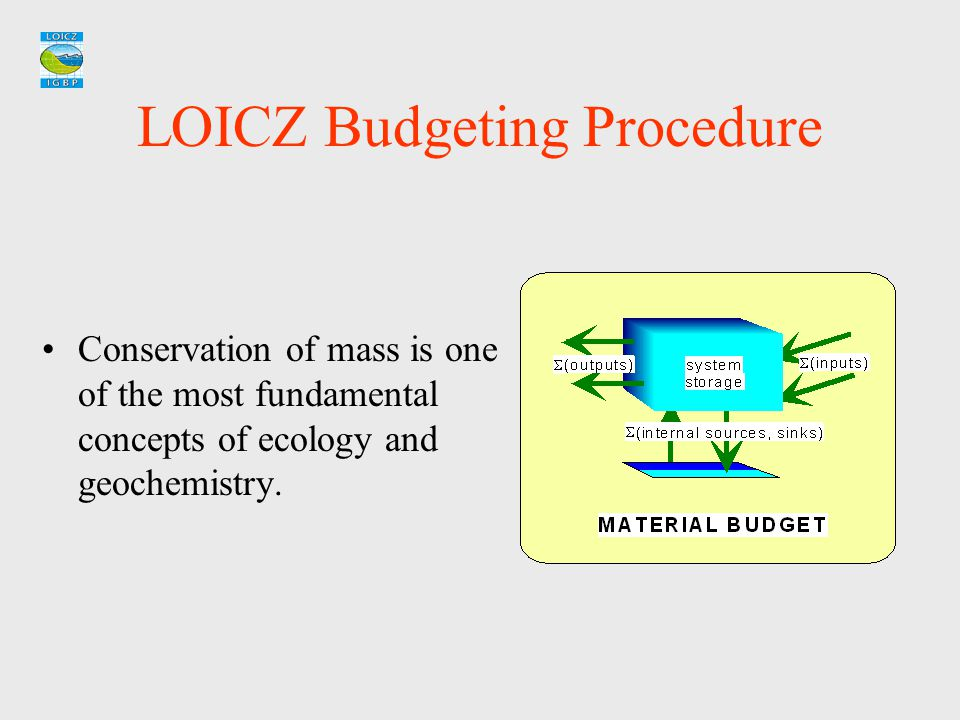 LOICZ Budgeting Procedure Conservation of mass is one of the most fundamental concepts of ecology and geochemistry.