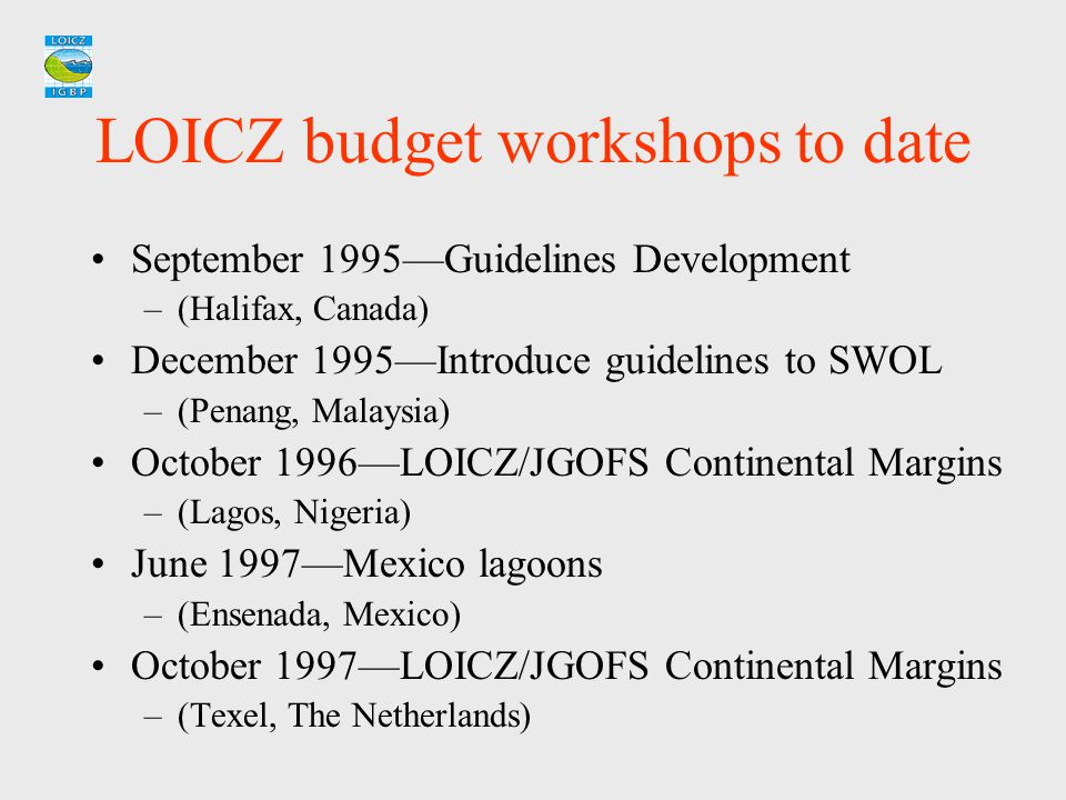 LOICZ budget workshops to date September 1995—Guidelines Development –(Halifax, Canada) December 1995—Introduce guidelines to SWOL –(Penang, Malaysia)