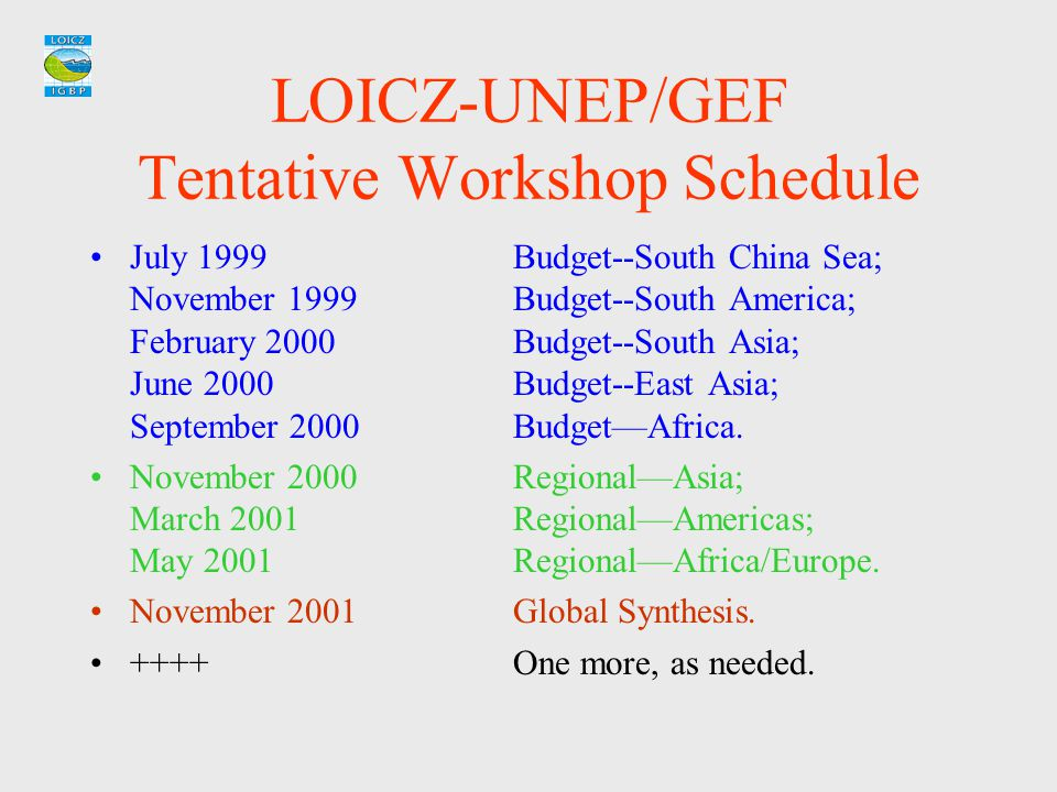 LOICZ-UNEP/GEF Tentative Workshop Schedule July 1999Budget--South China Sea; November 1999Budget--South America; February 2000Budget--South Asia; June