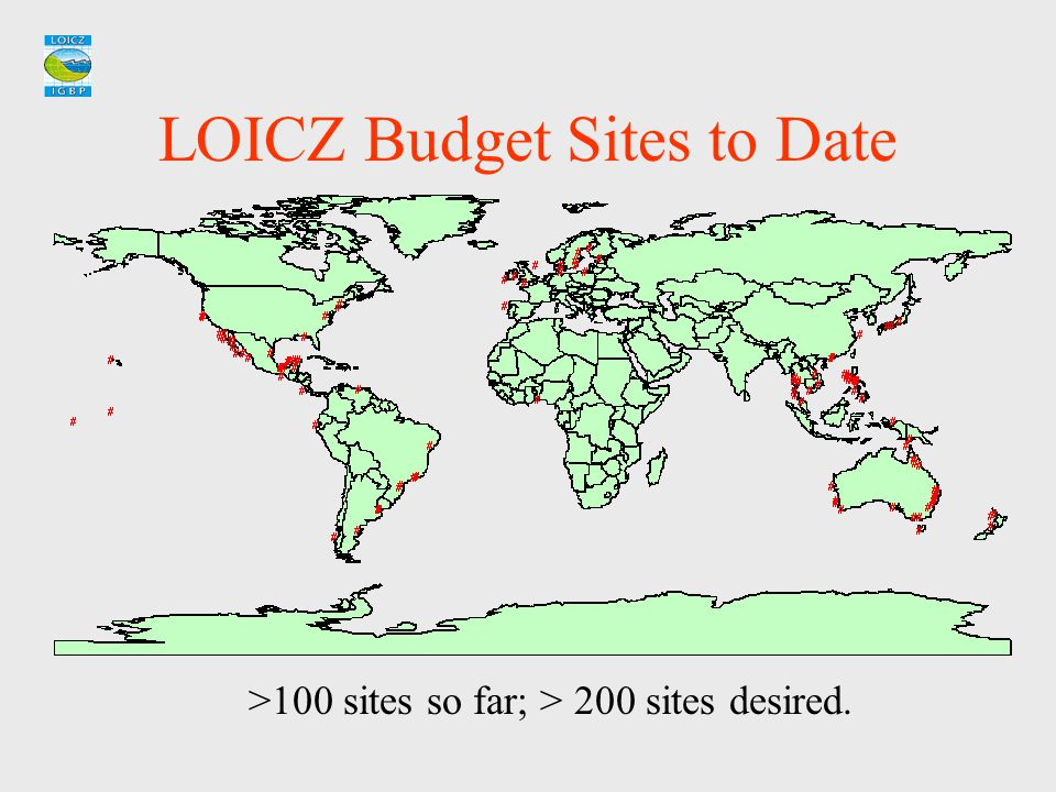 LOICZ Budget Sites to Date >100 sites so far; > 200 sites desired.