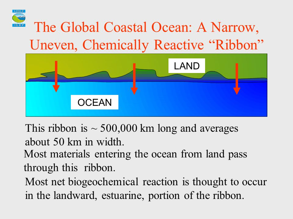 """The Global Coastal Ocean: A Narrow, Uneven, Chemically Reactive """"Ribbon"""" Most net biogeochemical reaction is thought to occur in the landward, estuari"""