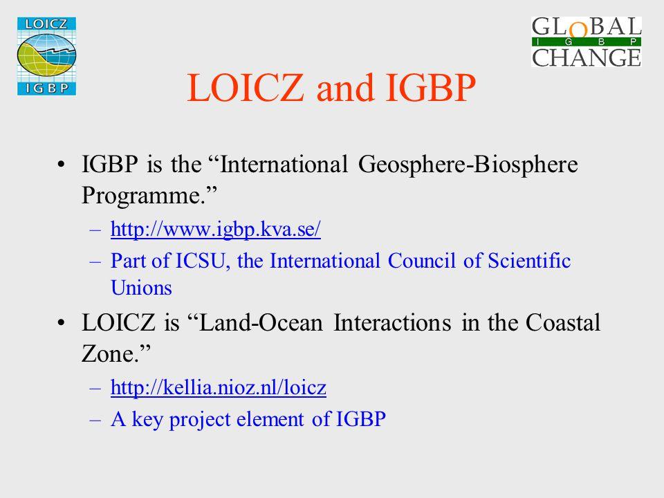 "LOICZ and IGBP IGBP is the ""International Geosphere-Biosphere Programme."" –http://www.igbp.kva.se/http://www.igbp.kva.se/ –Part of ICSU, the Internati"