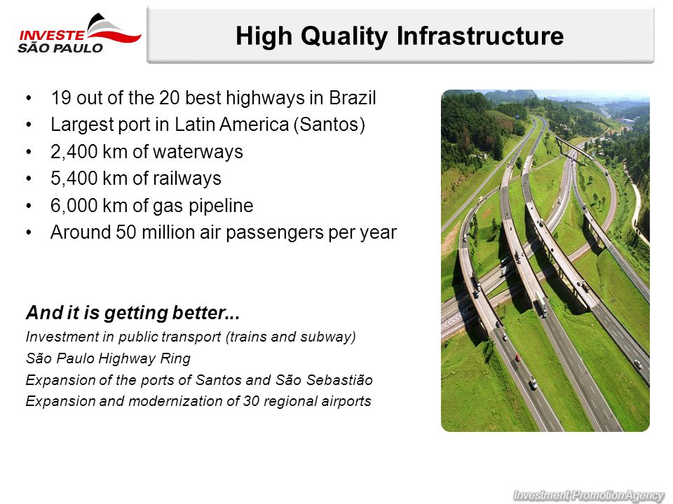 19 out of the 20 best highways in Brazil Largest port in Latin America (Santos) 2,400 km of waterways 5,400 km of railways 6,000 km of gas pipeline Around 50 million air passengers per year And it is getting better...