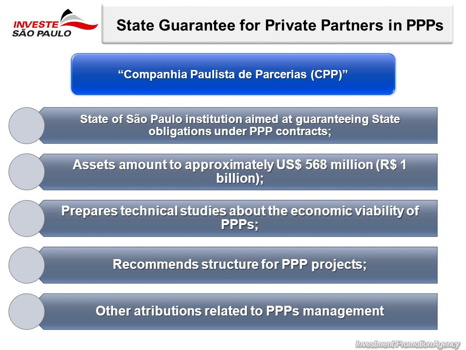 State Guarantee for Private Partners in PPPs State of São Paulo institution aimed at guaranteeing State obligations under PPP contracts; Assets amount to approximately US$ 568 million (R$ 1 billion); Prepares technical studies about the economic viability of PPPs; Recommends structure for PPP projects; Other atributions related to PPPs management Companhia Paulista de Parcerias (CPP)