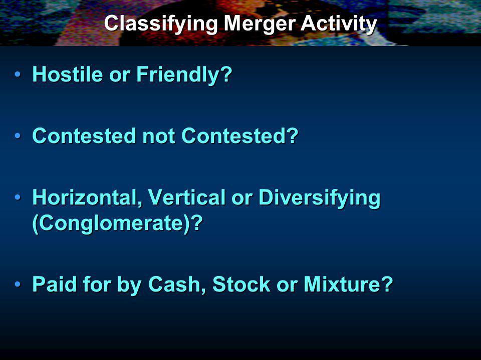 Classifying Merger Activity Hostile or Friendly Hostile or Friendly.