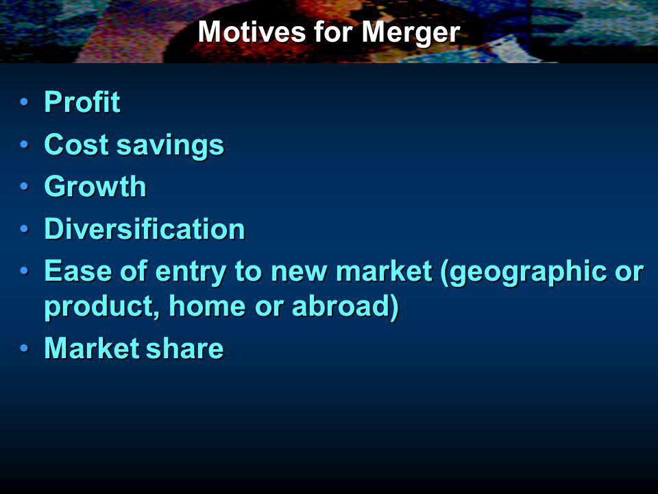 Motives for Merger ProfitProfit Cost savingsCost savings GrowthGrowth DiversificationDiversification Ease of entry to new market (geographic or product, home or abroad)Ease of entry to new market (geographic or product, home or abroad) Market shareMarket share