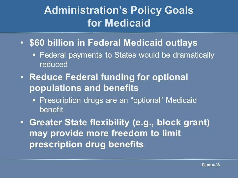 Blum # 36 Administration's Policy Goals for Medicaid $60 billion in Federal Medicaid outlays  Federal payments to States would be dramatically reduced Reduce Federal funding for optional populations and benefits  Prescription drugs are an optional Medicaid benefit Greater State flexibility (e.g., block grant) may provide more freedom to limit prescription drug benefits