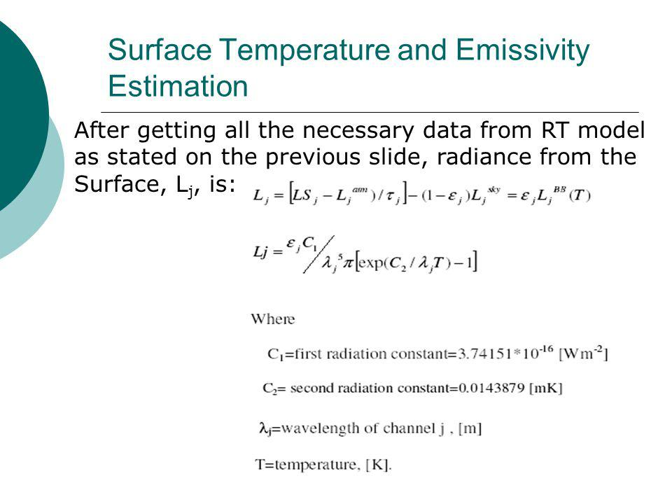 After getting all the necessary data from RT model as stated on the previous slide, radiance from the Surface, L j, is: Surface Temperature and Emissivity Estimation