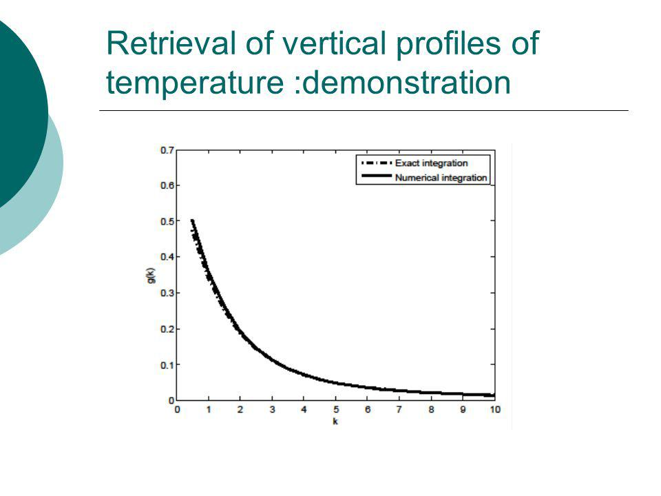 Retrieval of vertical profiles of temperature :demonstration