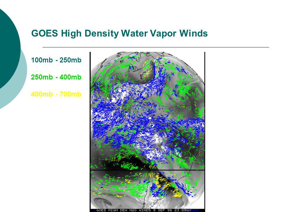 GOES High Density Water Vapor Winds 100mb - 250mb 250mb - 400mb 400mb - 700mb