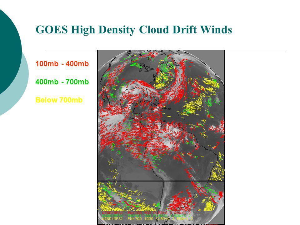 GOES High Density Cloud Drift Winds 100mb - 400mb 400mb - 700mb Below 700mb