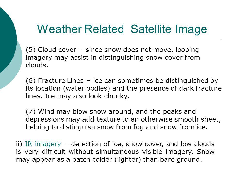 (5) Cloud cover − since snow does not move, looping imagery may assist in distinguishing snow cover from clouds.
