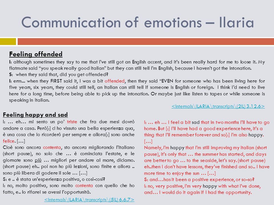 Communication of emotions – Ilaria Feeling offended I: although sometimes they say to me that I've still got an English accent, and it's been really h