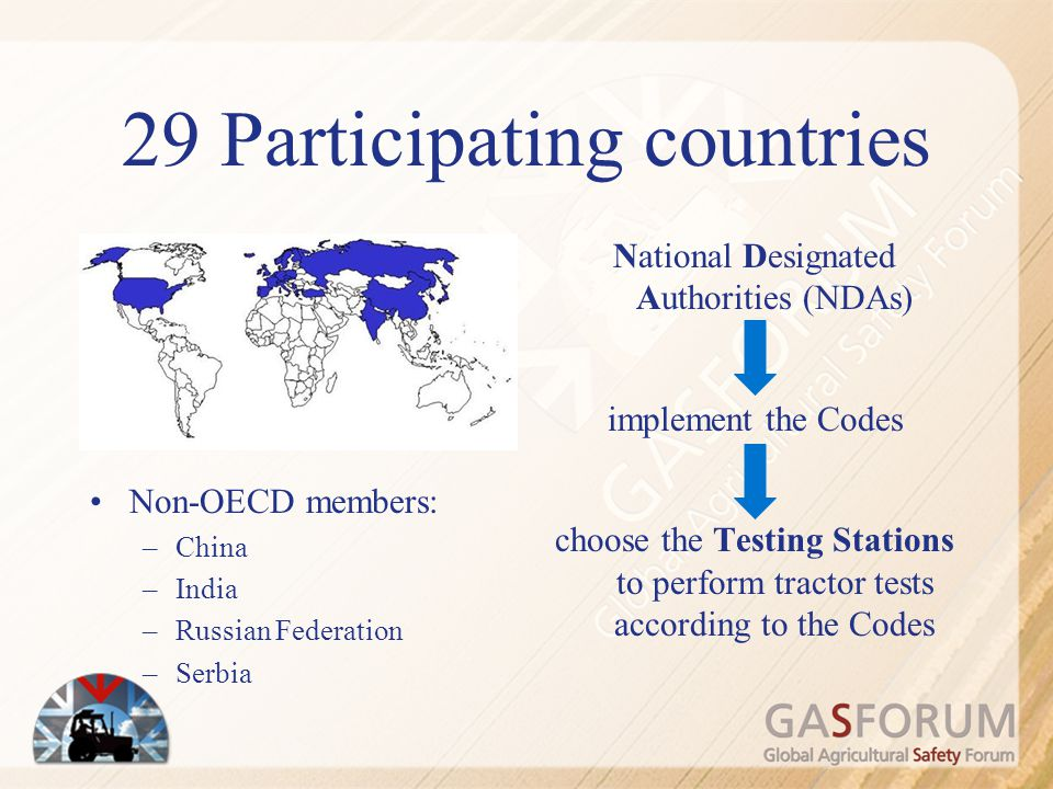 29 Participating countries Non-OECD members: –China –India –Russian Federation –Serbia National Designated Authorities (NDAs) implement the Codes choo