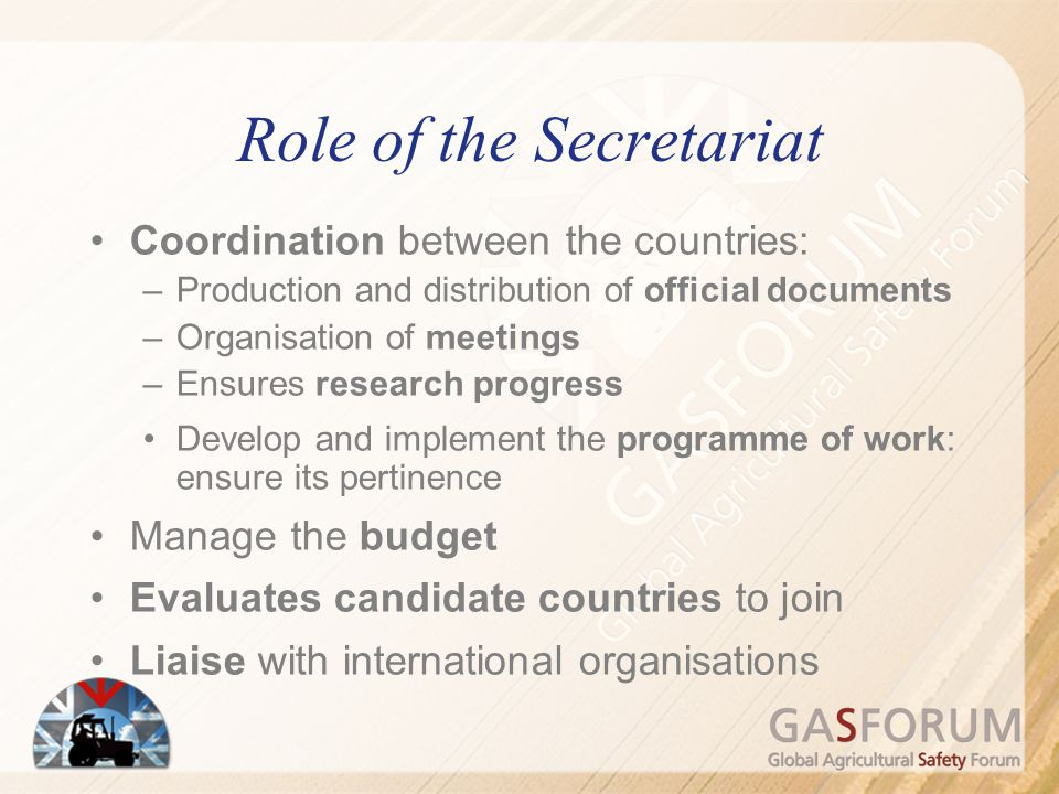 Role of the Secretariat Coordination between the countries: –Production and distribution of official documents –Organisation of meetings –Ensures rese