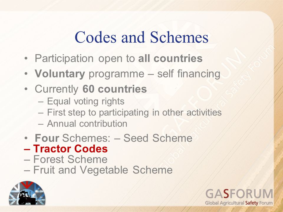 Codes and Schemes Participation open to all countries Voluntary programme – self financing Currently 60 countries –Equal voting rights –First step to