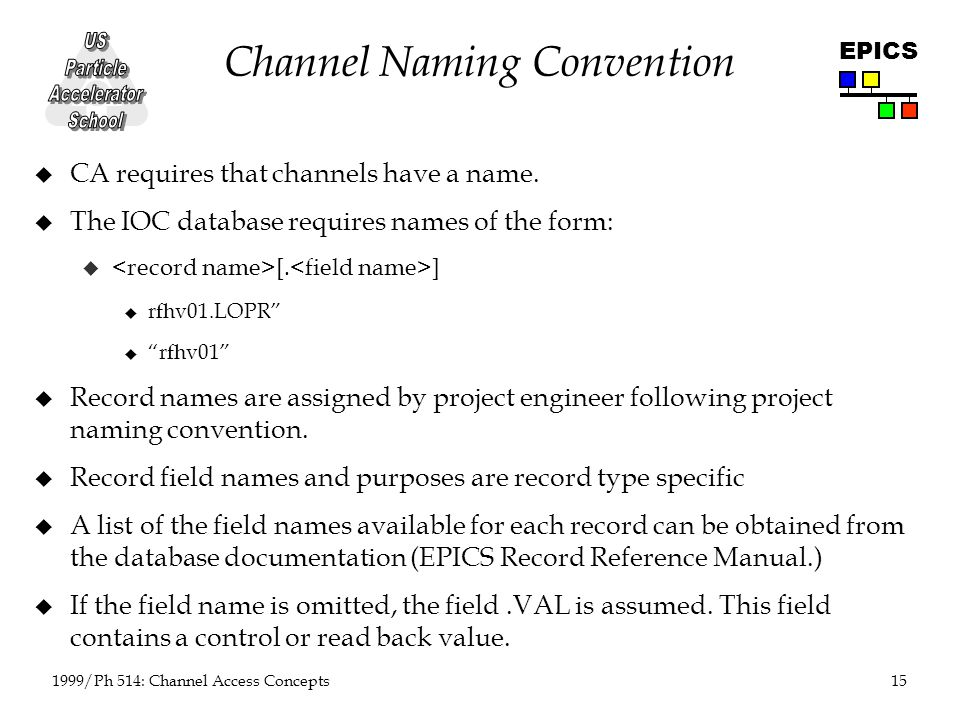 15 1999/Ph 514: Channel Access Concepts EPICS Channel Naming Convention u CA requires that channels have a name.