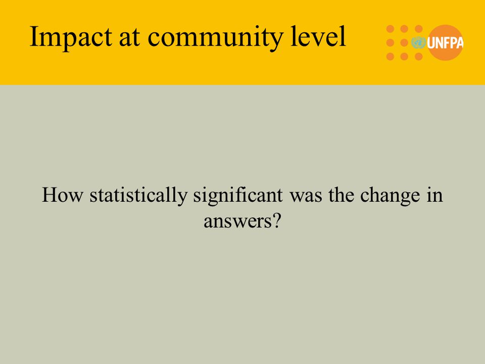 Impact at community level How statistically significant was the change in answers
