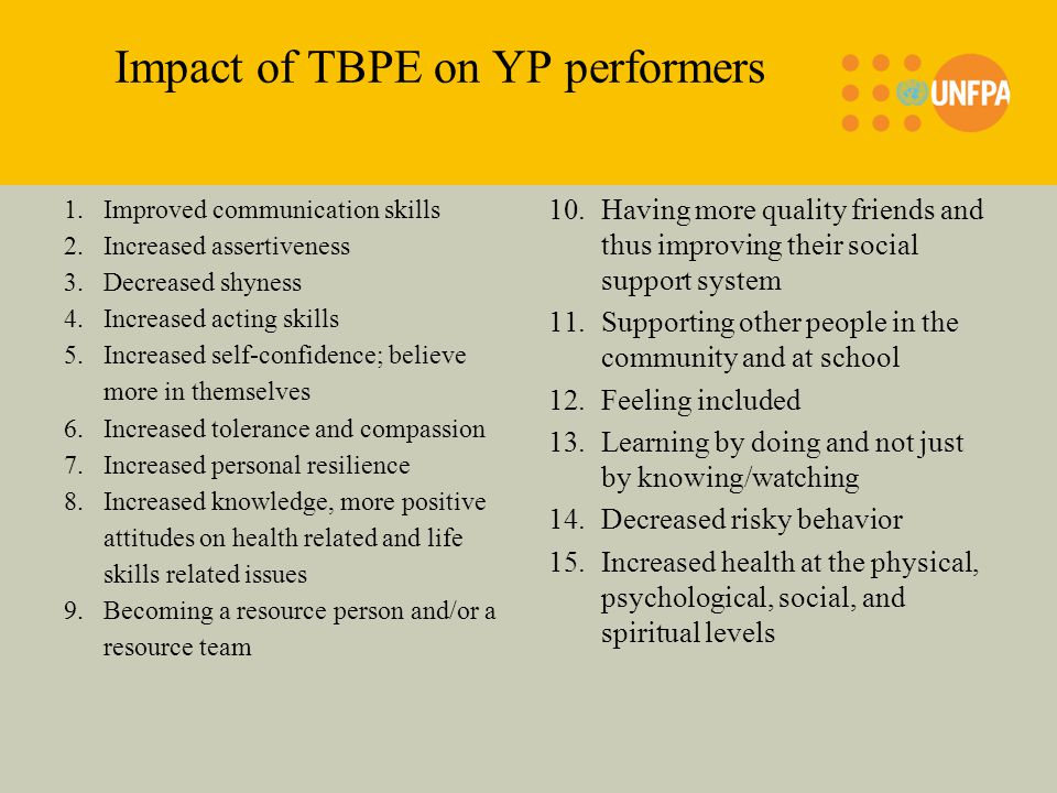 Impact of TBPE on YP performers 1.Improved communication skills 2.Increased assertiveness 3.Decreased shyness 4.Increased acting skills 5.Increased self-confidence; believe more in themselves 6.Increased tolerance and compassion 7.Increased personal resilience 8.Increased knowledge, more positive attitudes on health related and life skills related issues 9.Becoming a resource person and/or a resource team 10.Having more quality friends and thus improving their social support system 11.Supporting other people in the community and at school 12.Feeling included 13.Learning by doing and not just by knowing/watching 14.Decreased risky behavior 15.Increased health at the physical, psychological, social, and spiritual levels