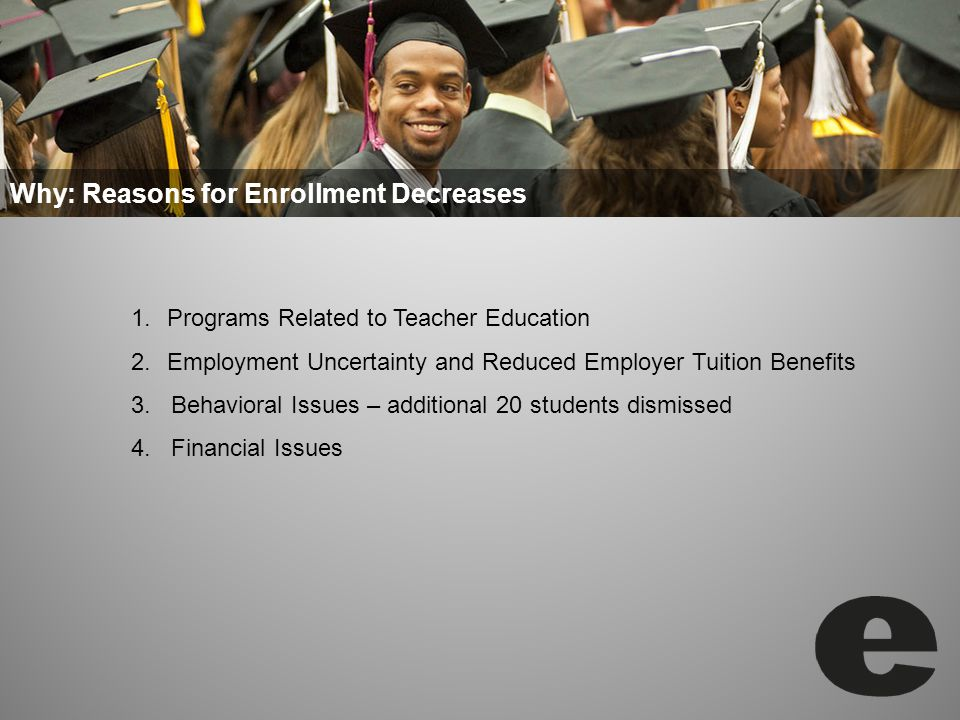 Why: Reasons for Enrollment Decreases 1.Programs Related to Teacher Education 2.Employment Uncertainty and Reduced Employer Tuition Benefits 3.
