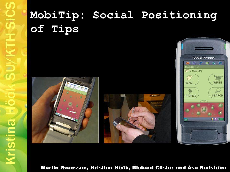 Kristina Höök SU/KTH SICS MobiTip: Social Positioning of Tips Martin Svensson, Kristina Höök, Rickard Cöster and Åsa Rudström