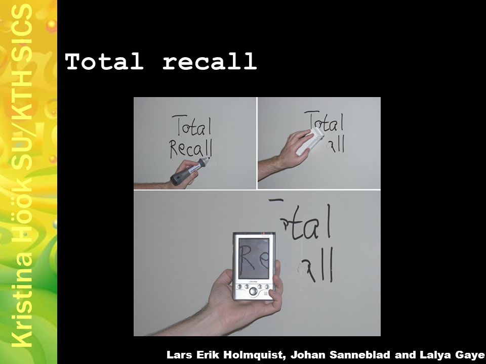 Kristina Höök SU/KTH SICS Total recall Lars Erik Holmquist, Johan Sanneblad and Lalya Gaye