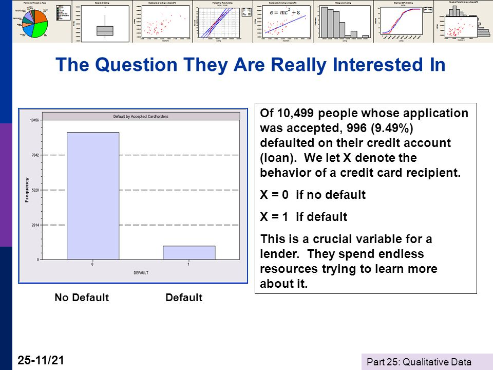 Part 25: Qualitative Data 25-11/21 The Question They Are Really Interested In Of 10,499 people whose application was accepted, 996 (9.49%) defaulted on their credit account (loan).