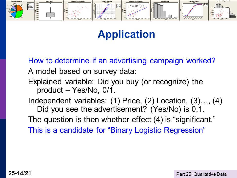 Part 25: Qualitative Data 25-14/21 Application How to determine if an advertising campaign worked.