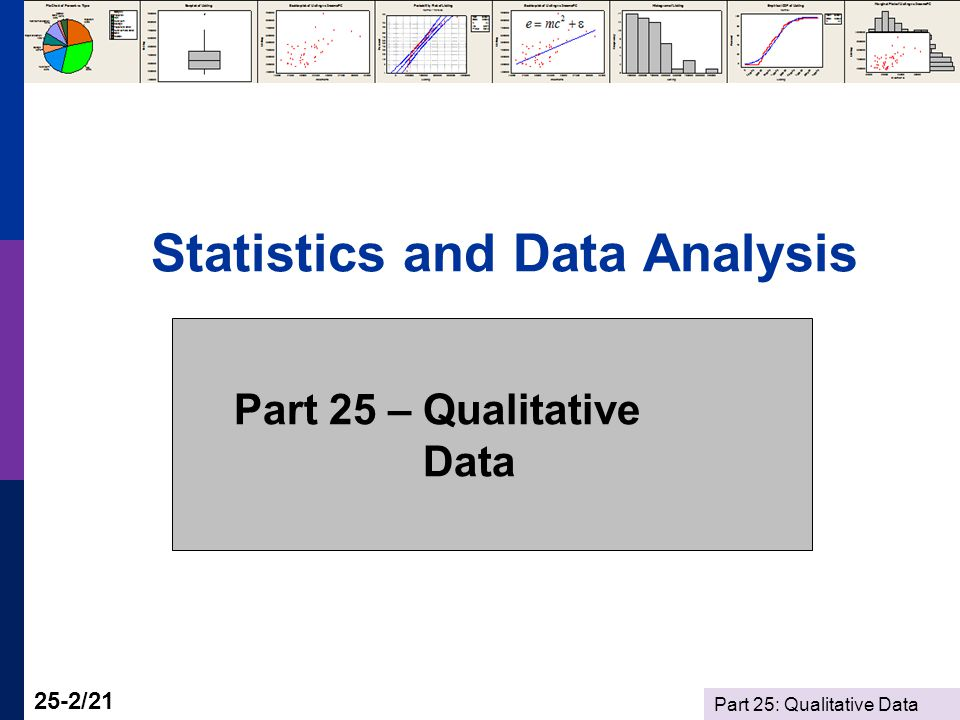 Part 25: Qualitative Data 25-2/21 Statistics and Data Analysis Part 25 – Qualitative Data