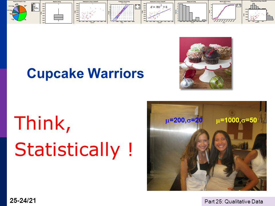 Part 25: Qualitative Data 25-24/21 Cupcake Warriors Think, Statistically .