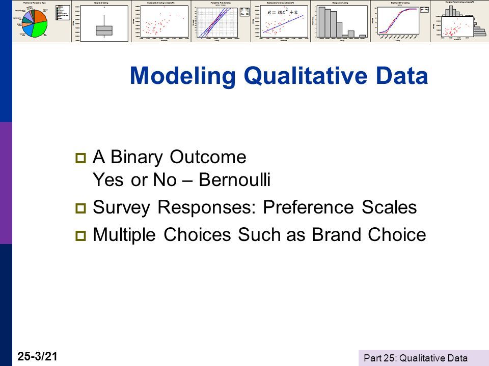 Part 25: Qualitative Data 25-3/21 Modeling Qualitative Data  A Binary Outcome Yes or No – Bernoulli  Survey Responses: Preference Scales  Multiple Choices Such as Brand Choice