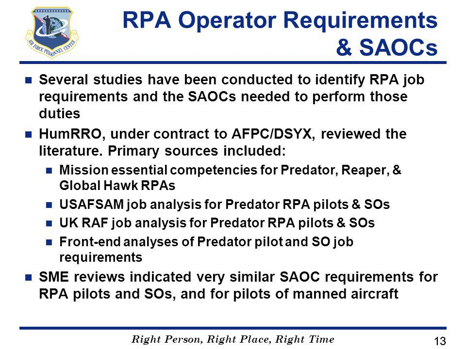 Right Person, Right Place, Right Time 13 RPA Operator Requirements & SAOCs Several studies have been conducted to identify RPA job requirements and the SAOCs needed to perform those duties HumRRO, under contract to AFPC/DSYX, reviewed the literature.