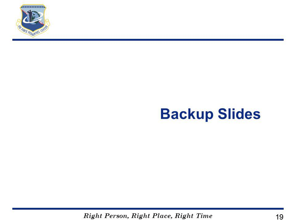 Right Person, Right Place, Right Time 19 Backup Slides