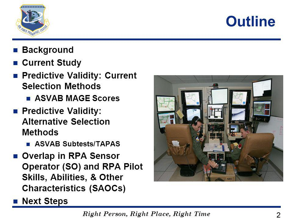 Right Person, Right Place, Right Time 22 Outline Background Current Study Predictive Validity: Current Selection Methods ASVAB MAGE Scores Predictive Validity: Alternative Selection Methods ASVAB Subtests/TAPAS Overlap in RPA Sensor Operator (SO) and RPA Pilot Skills, Abilities, & Other Characteristics (SAOCs) Next Steps