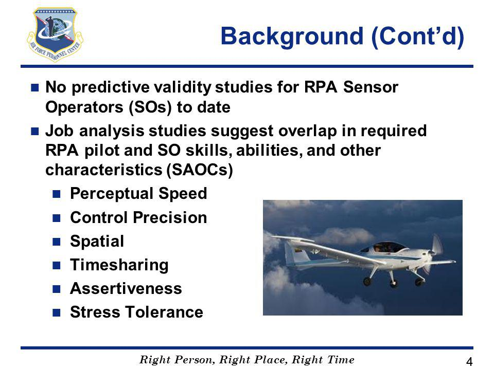 Right Person, Right Place, Right Time 44 Background (Cont'd) No predictive validity studies for RPA Sensor Operators (SOs) to date Job analysis studies suggest overlap in required RPA pilot and SO skills, abilities, and other characteristics (SAOCs) Perceptual Speed Control Precision Spatial Timesharing Assertiveness Stress Tolerance