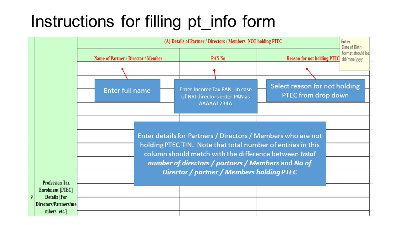 Instructions for filling pt_info form After filling entire form click on Press to validate & generate rem file TAB at the bottom.