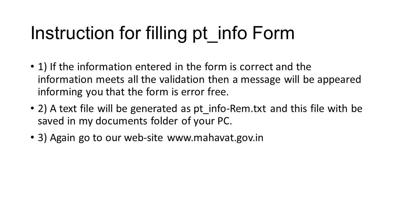 Click on PT-Info- Upload TAB