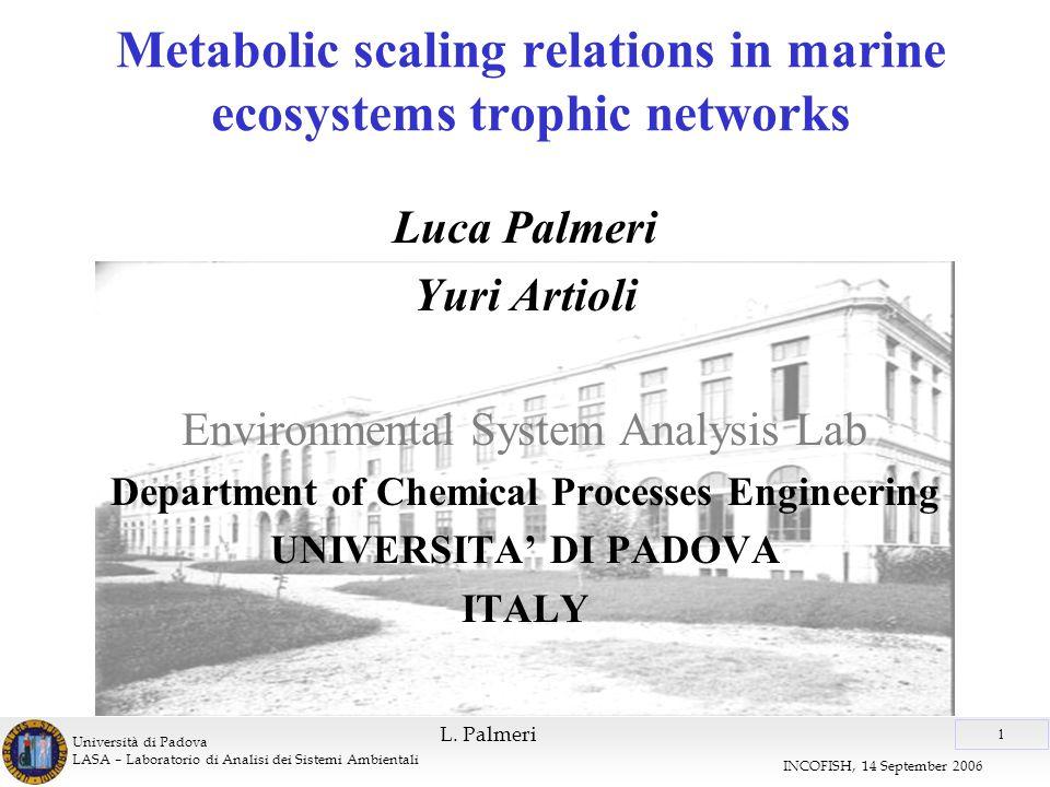 Università di Padova LASA – Laboratorio di Analisi dei Sistemi Ambientali 1 INCOFISH, 14 September 2006 L.