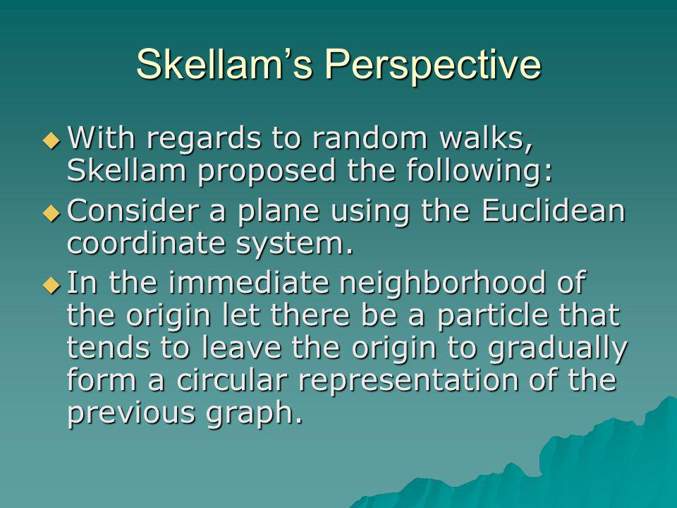 Skellam's Perspective  With regards to random walks, Skellam proposed the following:  Consider a plane using the Euclidean coordinate system.