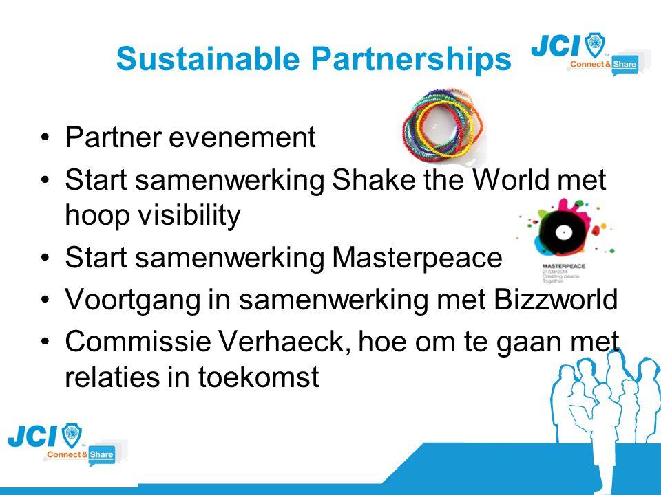 Sustainable Partnerships Partner evenement Start samenwerking Shake the World met hoop visibility Start samenwerking Masterpeace Voortgang in samenwer