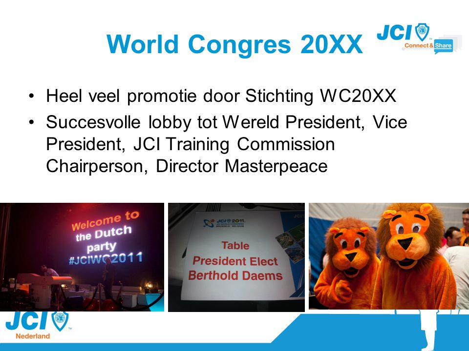 Visibility EPM in Varese met grote delegatie 4 Area Conferences + WC in Brussel Partnership Summit in NY Bid/Bad Harderwijk en Zoetermeer World Best Community project – JCI ZV Campai for Sendai Top 2 donor NbN 1e editie JCI Regatta