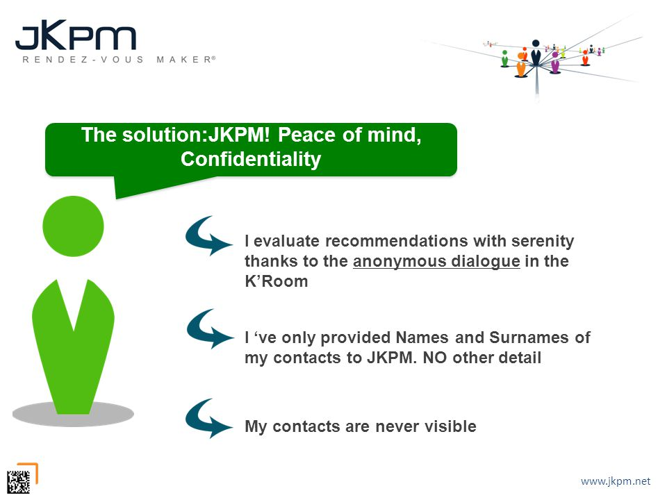 www.jkpm.net I evaluate recommendations with serenity thanks to the anonymous dialogue in the K'Room The solution:JKPM! Peace of mind, Confidentiality
