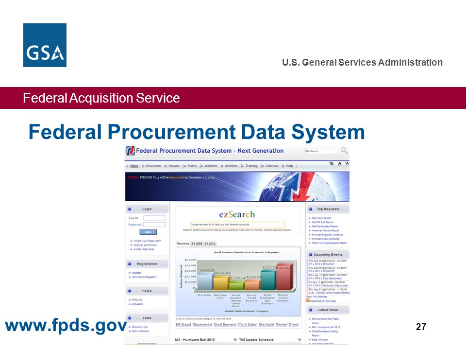 Federal Acquisition Service U.S. General Services Administration Federal Procurement Data System 27 www.fpds.gov