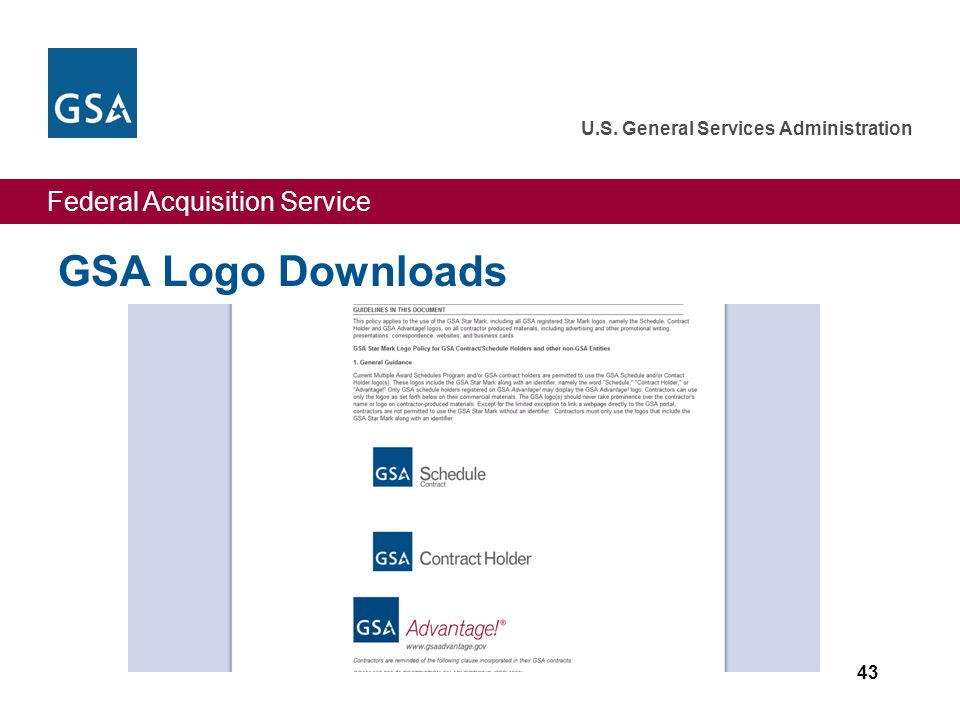 Federal Acquisition Service U.S. General Services Administration GSA Logo Downloads 43