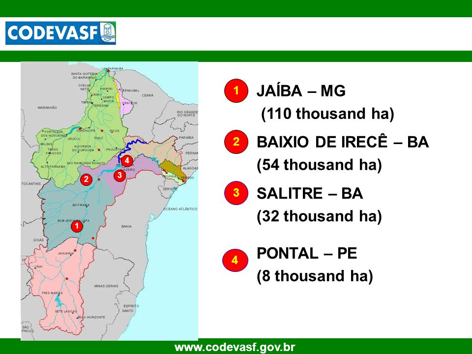 30 www.codevasf.gov.br 1 2 3 4 JAÍBA – MG (110 thousand ha) BAIXIO DE IRECÊ – BA (54 thousand ha) 3 SALITRE – BA (32 thousand ha) 4 PONTAL – PE (8 thousand ha) 1 2