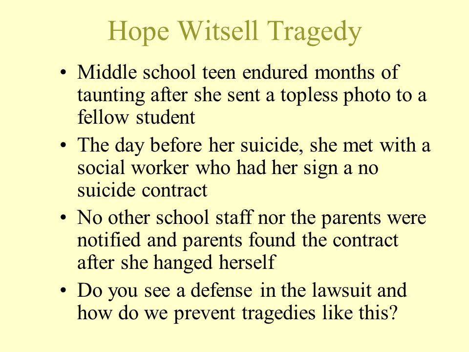 Hope Witsell Tragedy Middle school teen endured months of taunting after she sent a topless photo to a fellow student The day before her suicide, she