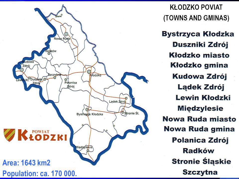 2 Area: 1643 km2 Population: ca. 170 000. KŁODZKO POVIAT (TOWNS AND GMINAS)