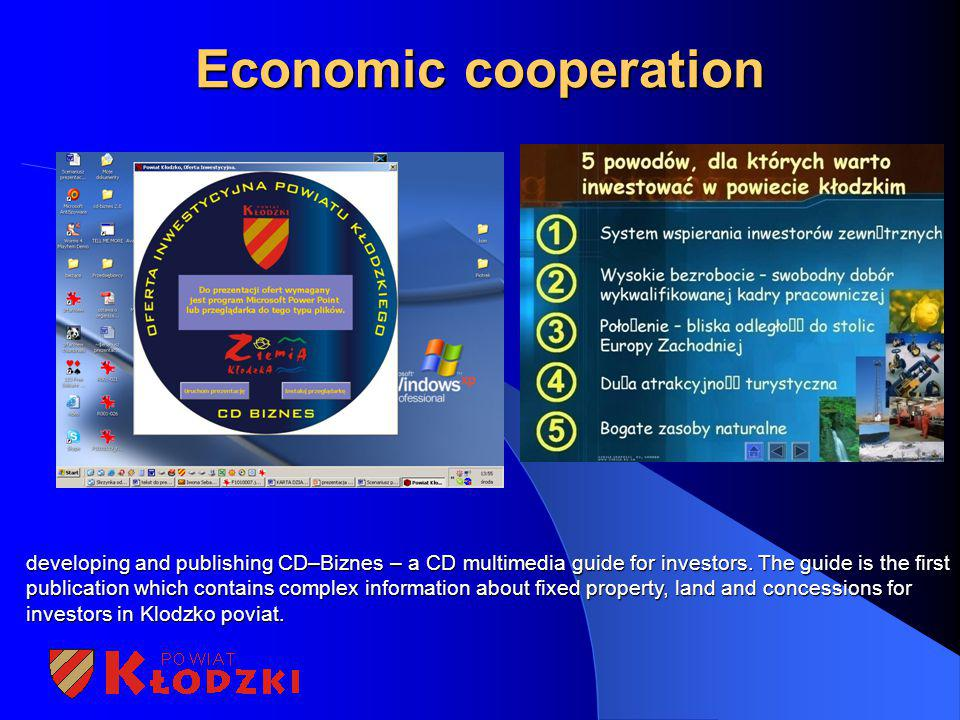 Economic cooperation developing and publishing CD–Biznes – a CD multimedia guide for investors. The guide is the first publication which contains comp