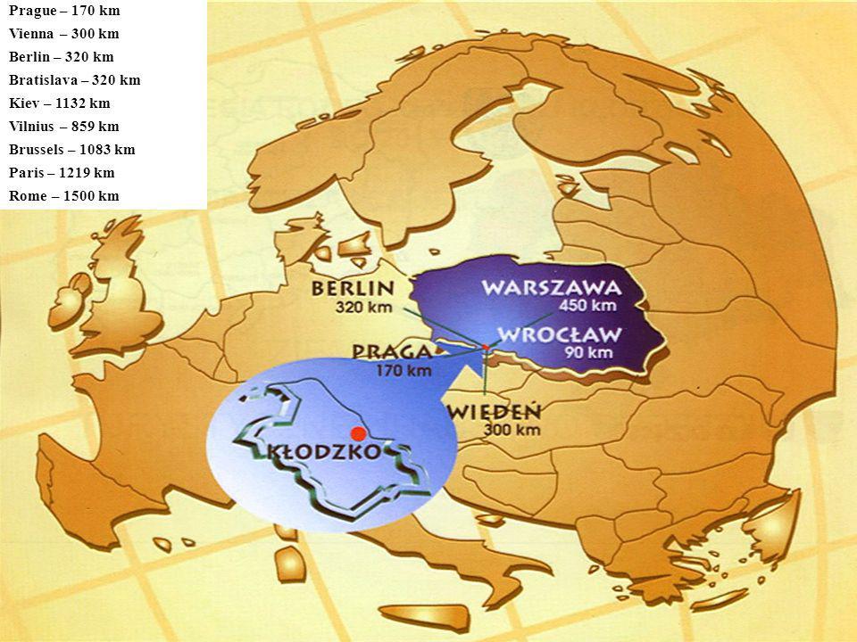 3 Prague – 170 km Vienna – 300 km Berlin – 320 km Bratislava – 320 km Kiev – 1132 km Vilnius – 859 km Brussels – 1083 km Paris – 1219 km Rome – 1500 km